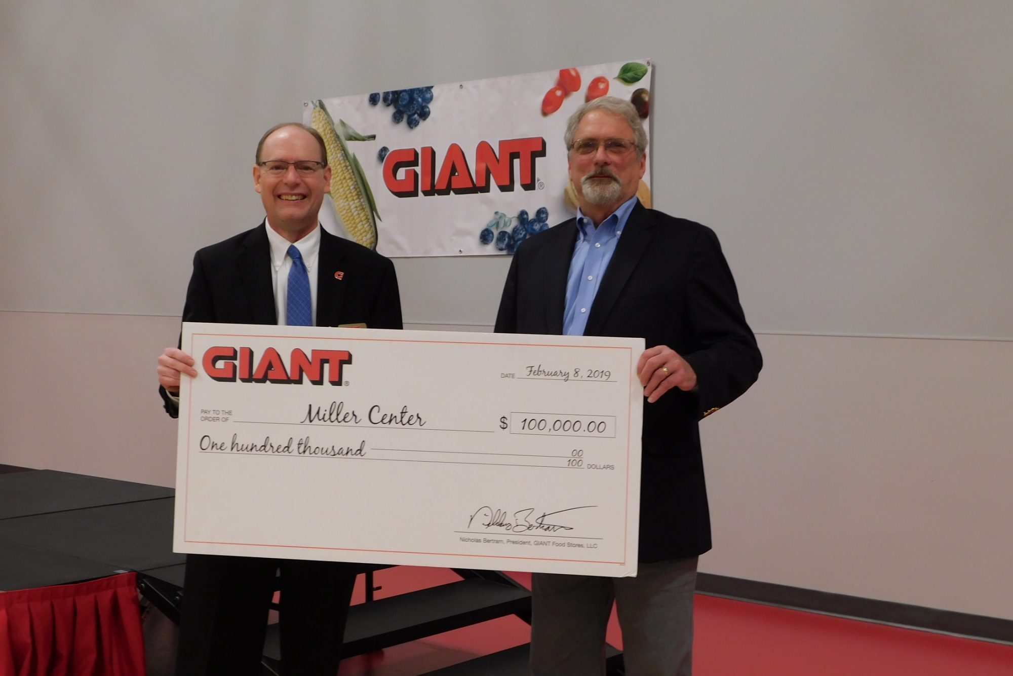 Giant's Chris Brand and The Miller Center's Jim Mathias